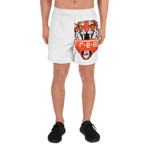 White double tiger Men's Athletic Long Shorts