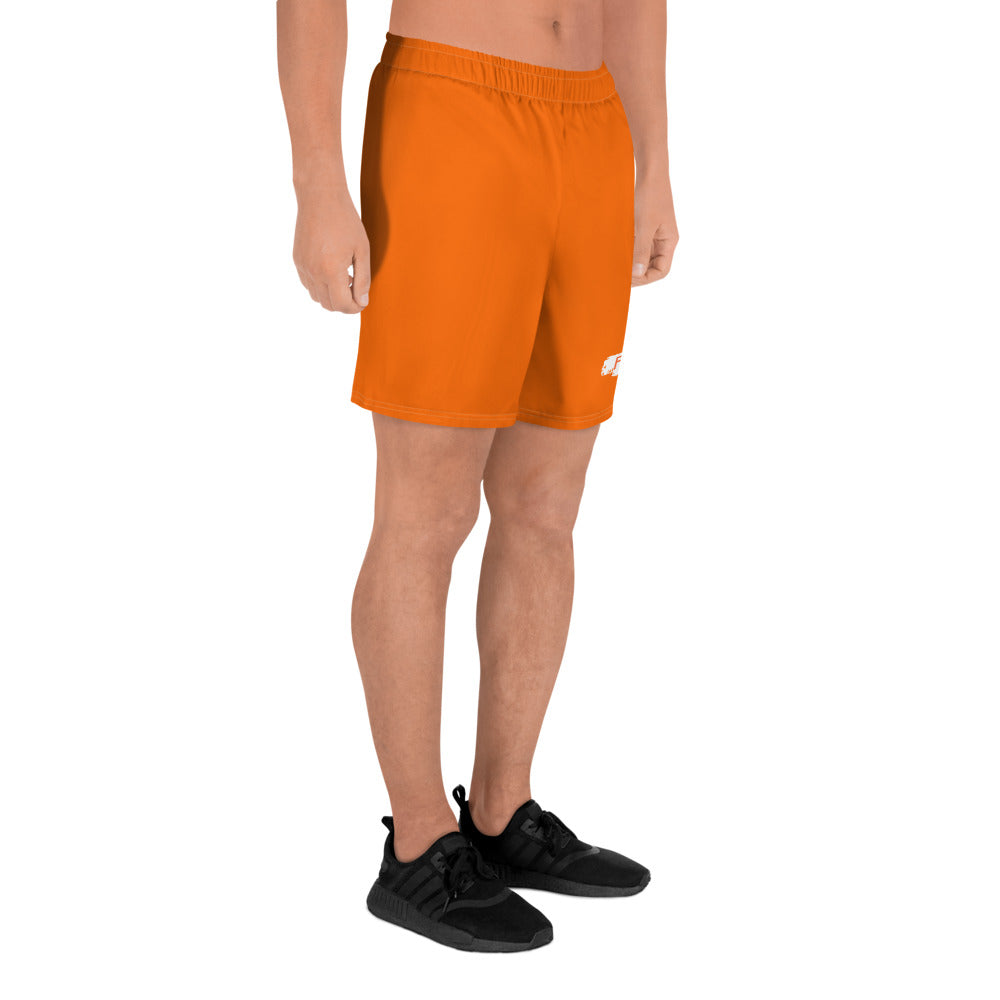Free orange with white patch Men's Athletic Long Shorts