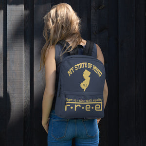 Free my state of mind blue and gold N.J. backpack