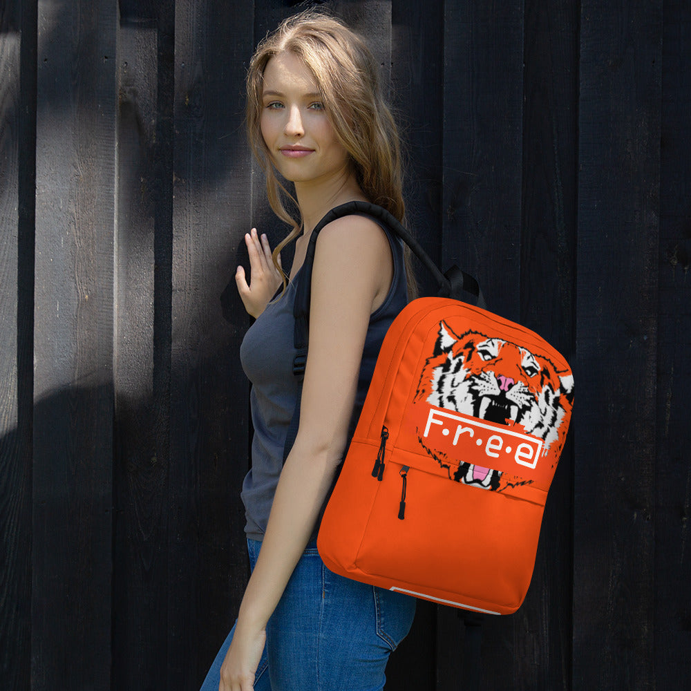 F.R.E.E orange tiger and get to it backpack