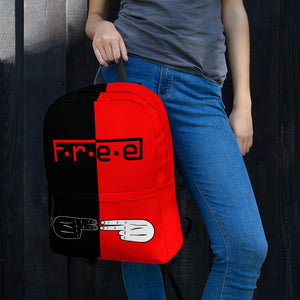 F.R.E.E red and black backpack