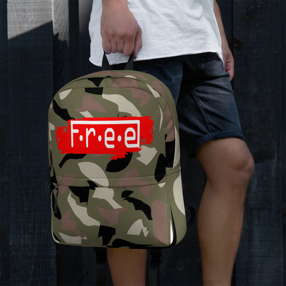 F.R.E.E camo and red and white free patch backpack