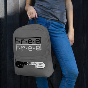 F.R.E.E double black and white free on grey backpack