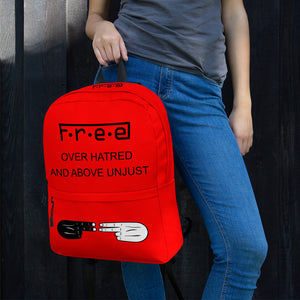 F.R.E.E over hatred red backpack