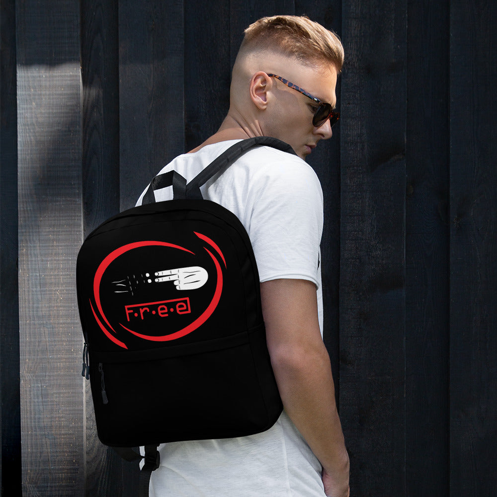 F.R.E.E red circle and black backpack