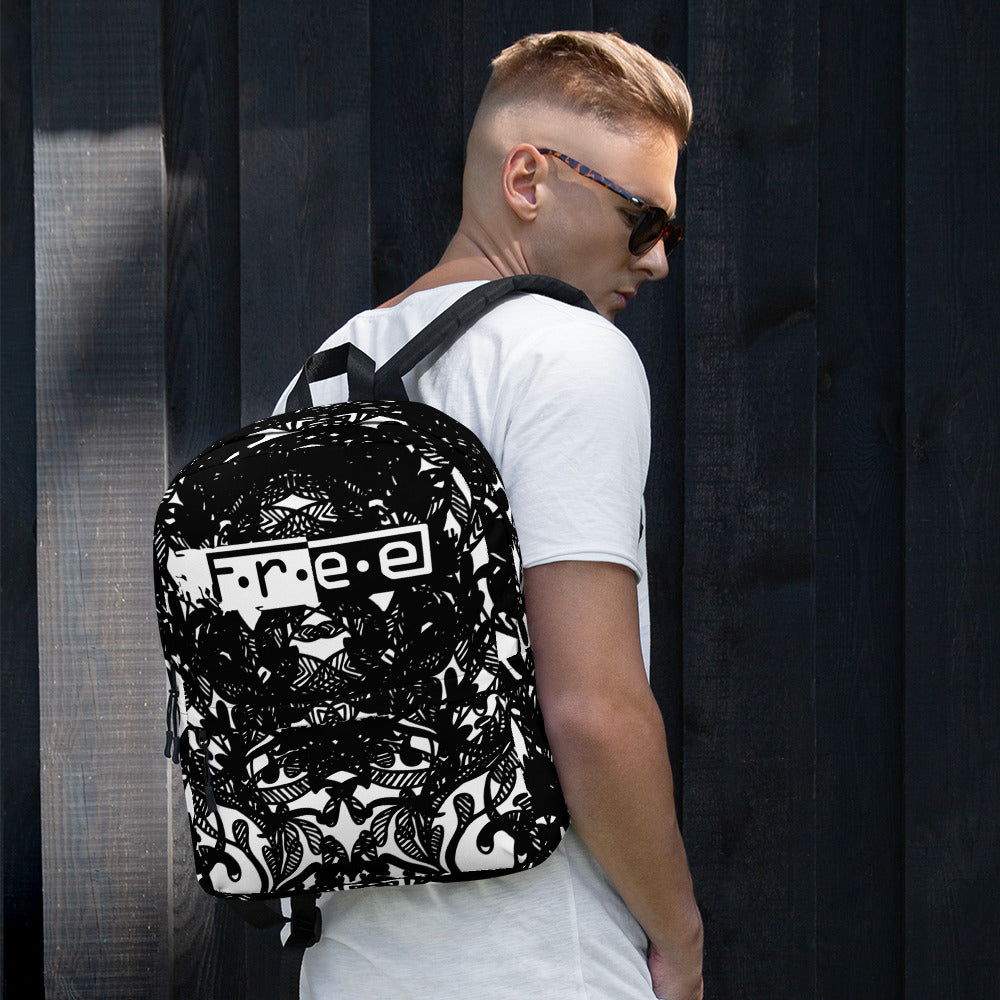 F.R.E.E patch black and white spotted backpack