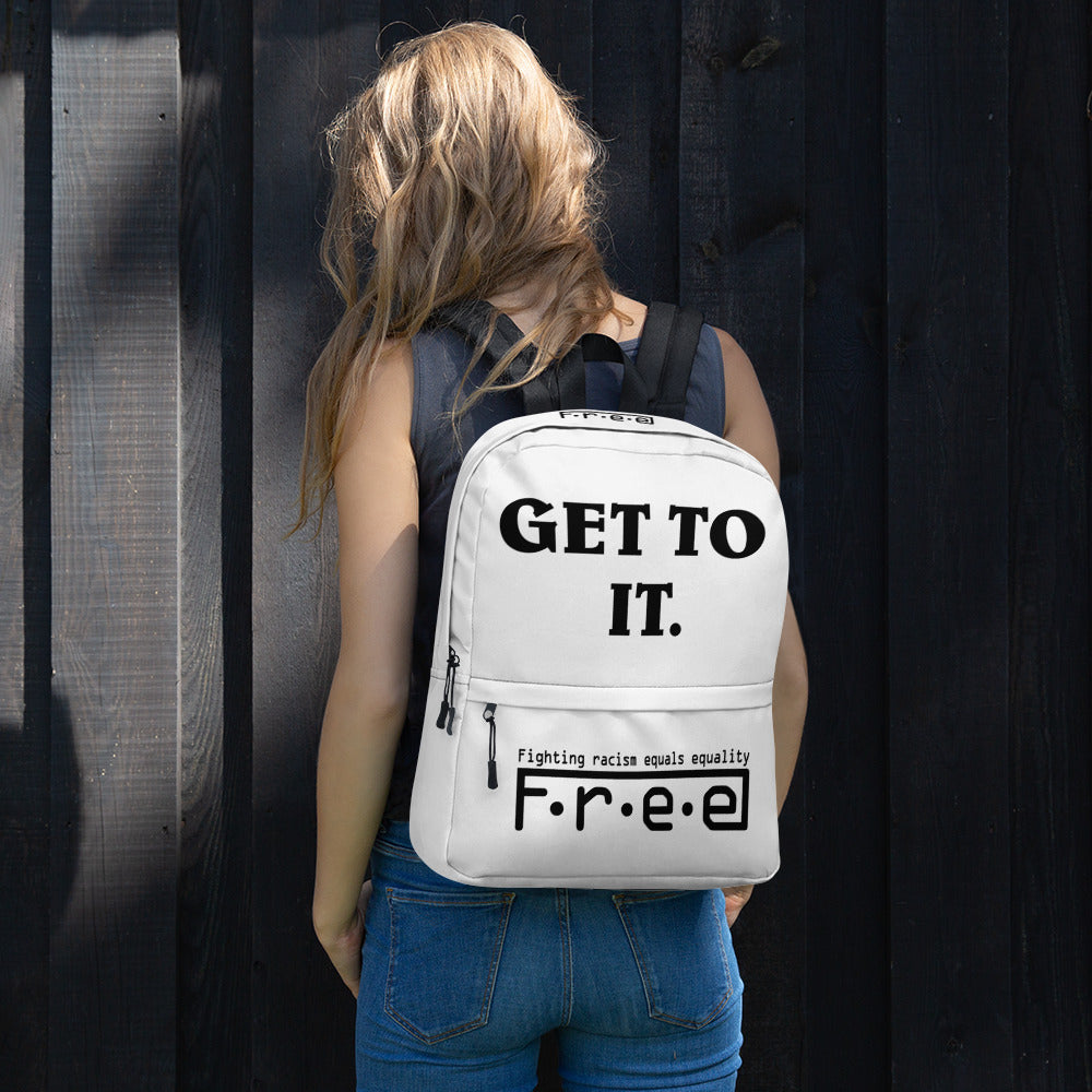 F.R.E.E GTI. white backpack