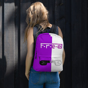 F.R.E.E purple and white backpack