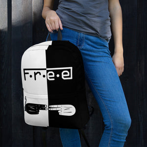 F.R.E.E white and black backpack