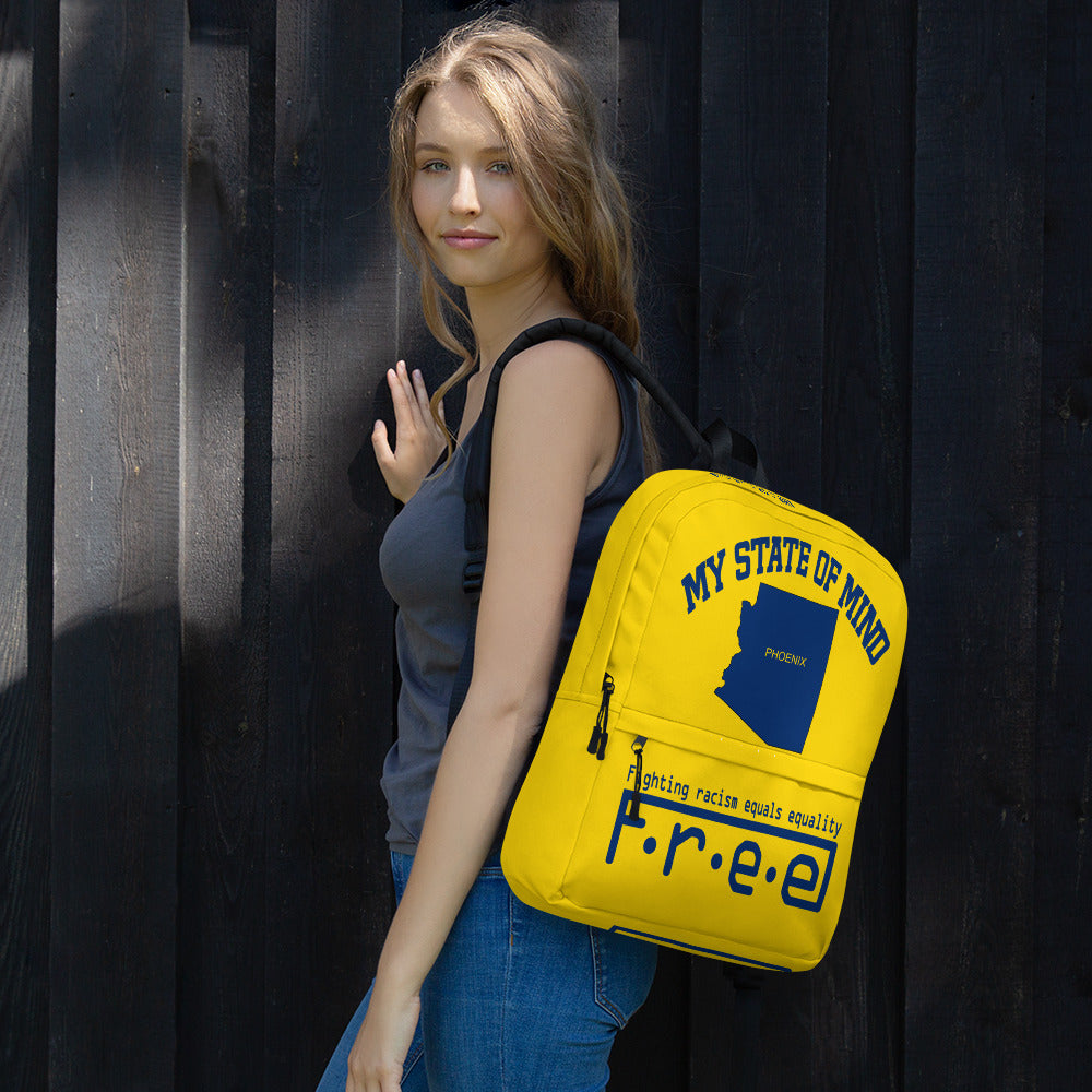 Free my state of mind yellow and blue Phoenix backpack