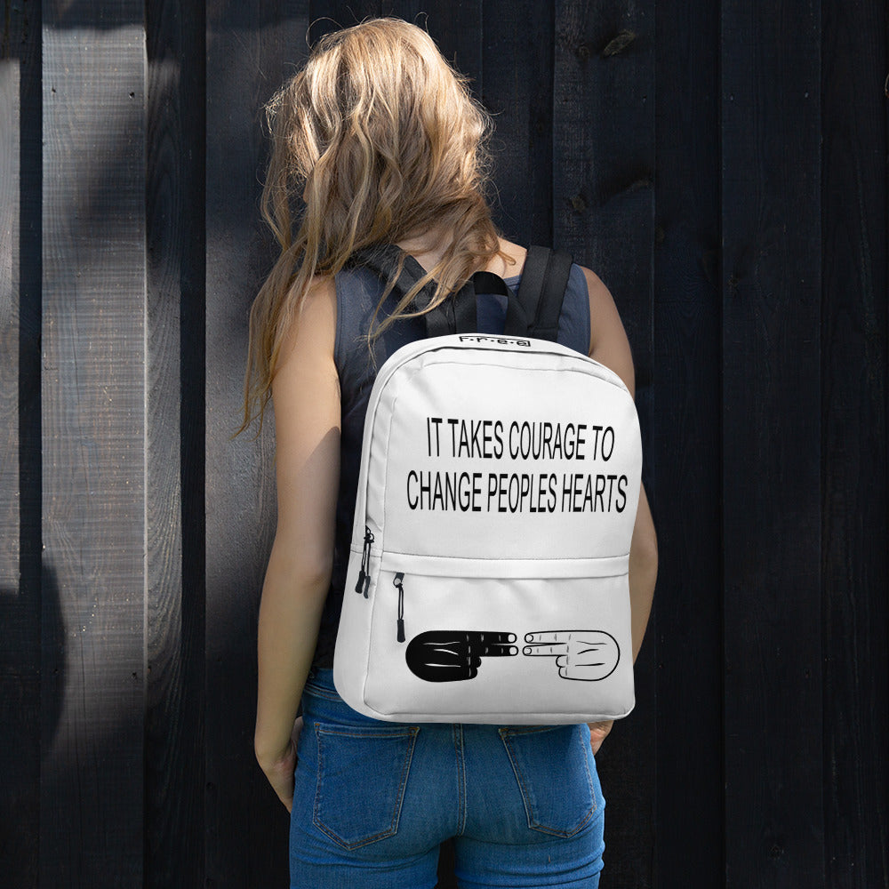 F.R.E.E courage white backpack