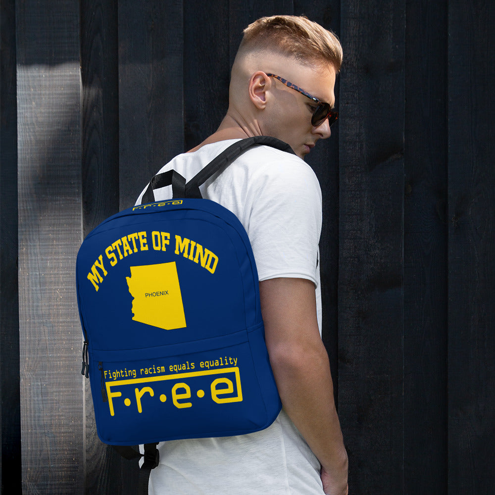 Free my state of mind blue and yellow Phoenix backpack