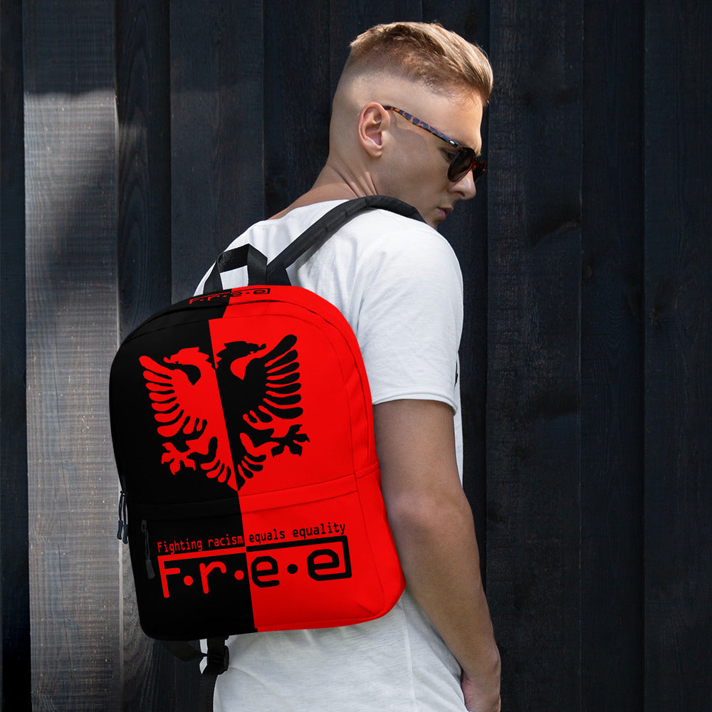 Black and red Albanian backpack