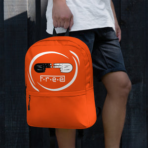 F.R.E.E white circle and orange backpack