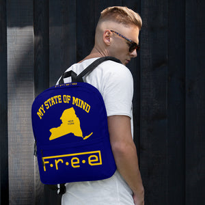Free my state of mind yellow and blue N.Y. backpack