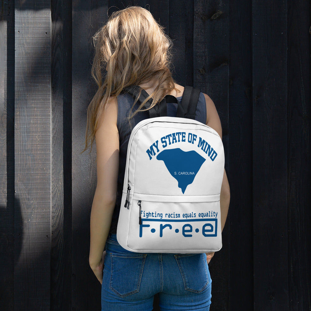 Free my state of mind white and blue S.C. backpack