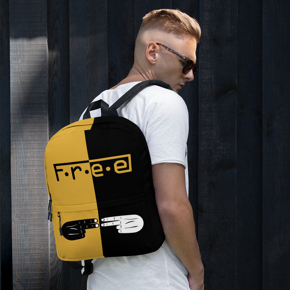 F.R.E.E gold and black backpack