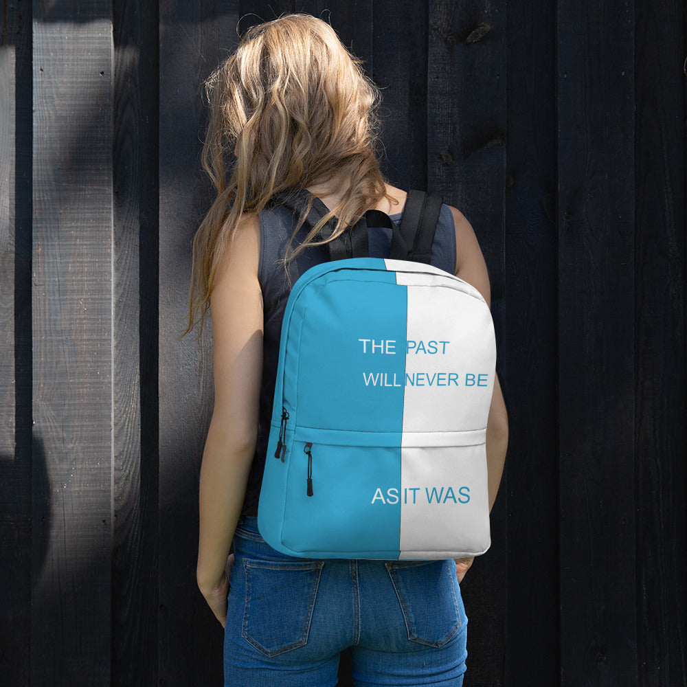 F.R.E.E as it was blue and white backpack