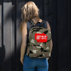 F.R.E.E camo and red get to it patch backpack