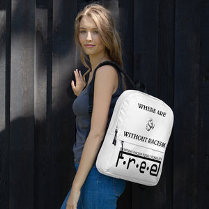 F.R.E.E where are you white backpack