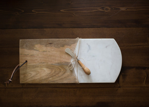 "Marble & Mango Wood Cutting Board w/ Canape Knife 17-1/2""L x 7-1/2""W"