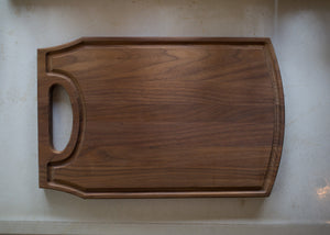 "Large Walnut Wood Cutting Board with Handle and Juice Groove 10 ½"" x 17"" x ¾"""