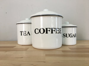 Enamel Coffee, Tea and Suger Cannister Set