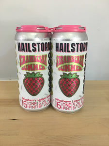 Hailstorm Brewing Strawberry Summer Strawberry Lemon Kolsch 4 pack 16oz Cans (Available for local delivery only.  Must be 21 or over with valid ID upon delivery.)