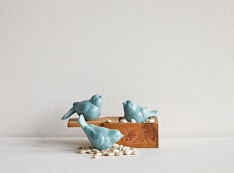"Ceramic Bird, Aqua, 3 Styles, 3"" long"