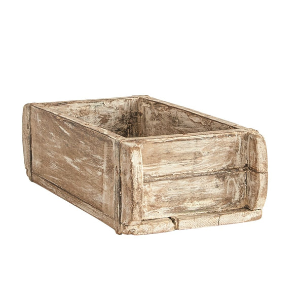 "Found Wood Brick Mold, Distressed White, Approximately 12""L x 6""W x 4""H (Each One Will Vary)"