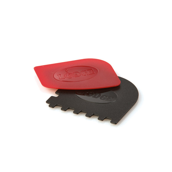 Lodge Scraper Set, 1 Grill Pan Black, 1 Pan Red