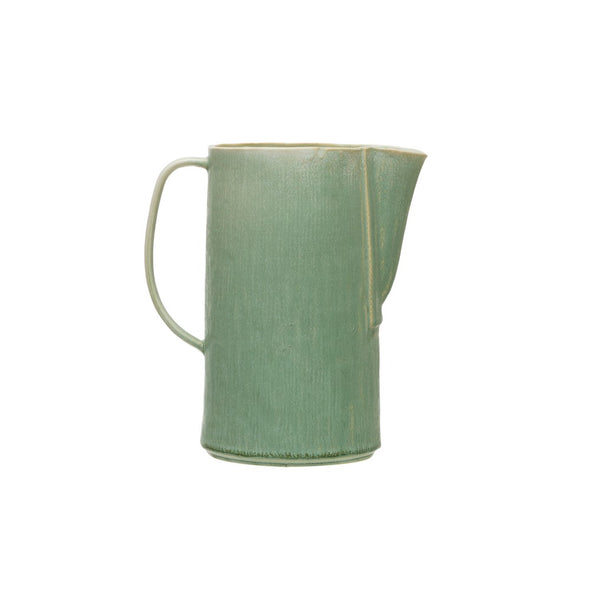 Stoneware Pitcher, Reactive Glaze, Matte Celadon Color (Each Varies), 64 oz.