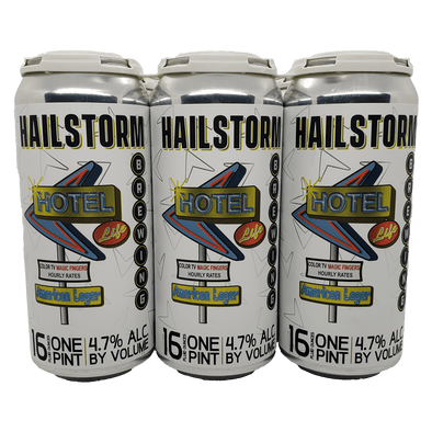 Hailstorm Brewing Hotel life 6 pack 16oz Cans (Available for local delivery only.  Must be 21 or over with valid ID upon delivery.)