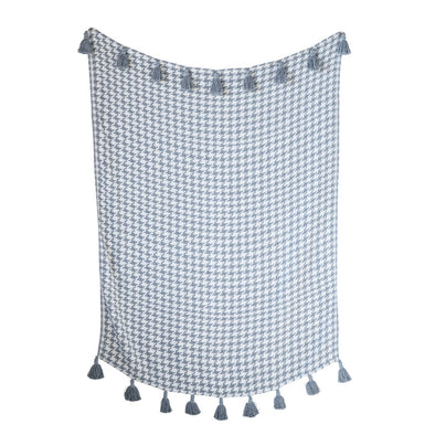 "Grey & Cream Houndstooth Cotton Woven Throw with Grey Tassels, 60'L x 50""W"