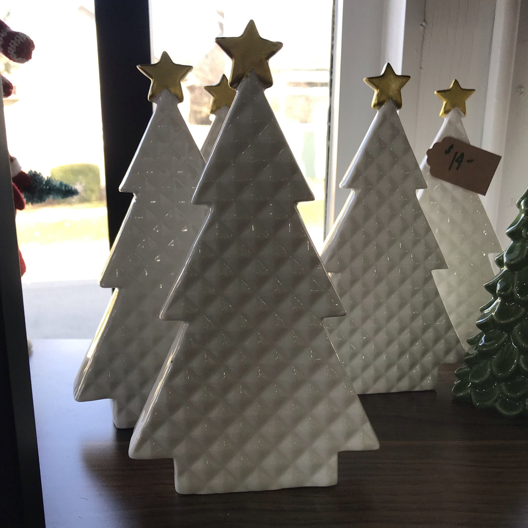 White Ceramic Tree with Gold Star