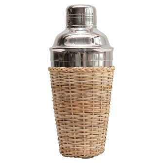 "Stainless Steel Cocktail Shaker w/ Woven Rattan Sleeve 3-3/4"" Round x 8""H 17 oz."