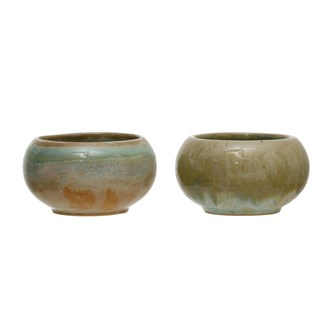 "Round Stoneware 3"" Bowl, Opal Reactive Glaze (Each One Will Vary)"