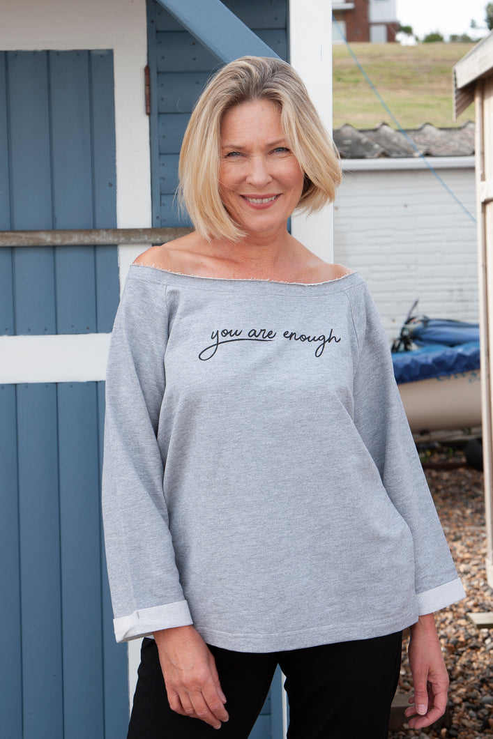 'You are enough' Women's Oversized CharcoalSweater