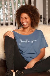 Women's Loose-fit Organic Cotton faded denim T-Shirt