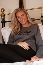 Load image into Gallery viewer, love is love unisex grey organic cotton sweater gifts for her