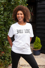 Load image into Gallery viewer, love is love unisex white organic cotton t-shirt