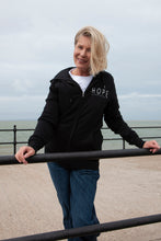 Load image into Gallery viewer, women's black organic cotton hoodie kind kompany