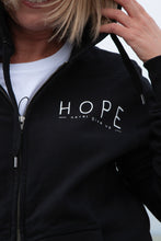 Load image into Gallery viewer, 'Hope, never give up' Unisex Black Zip Hoodie
