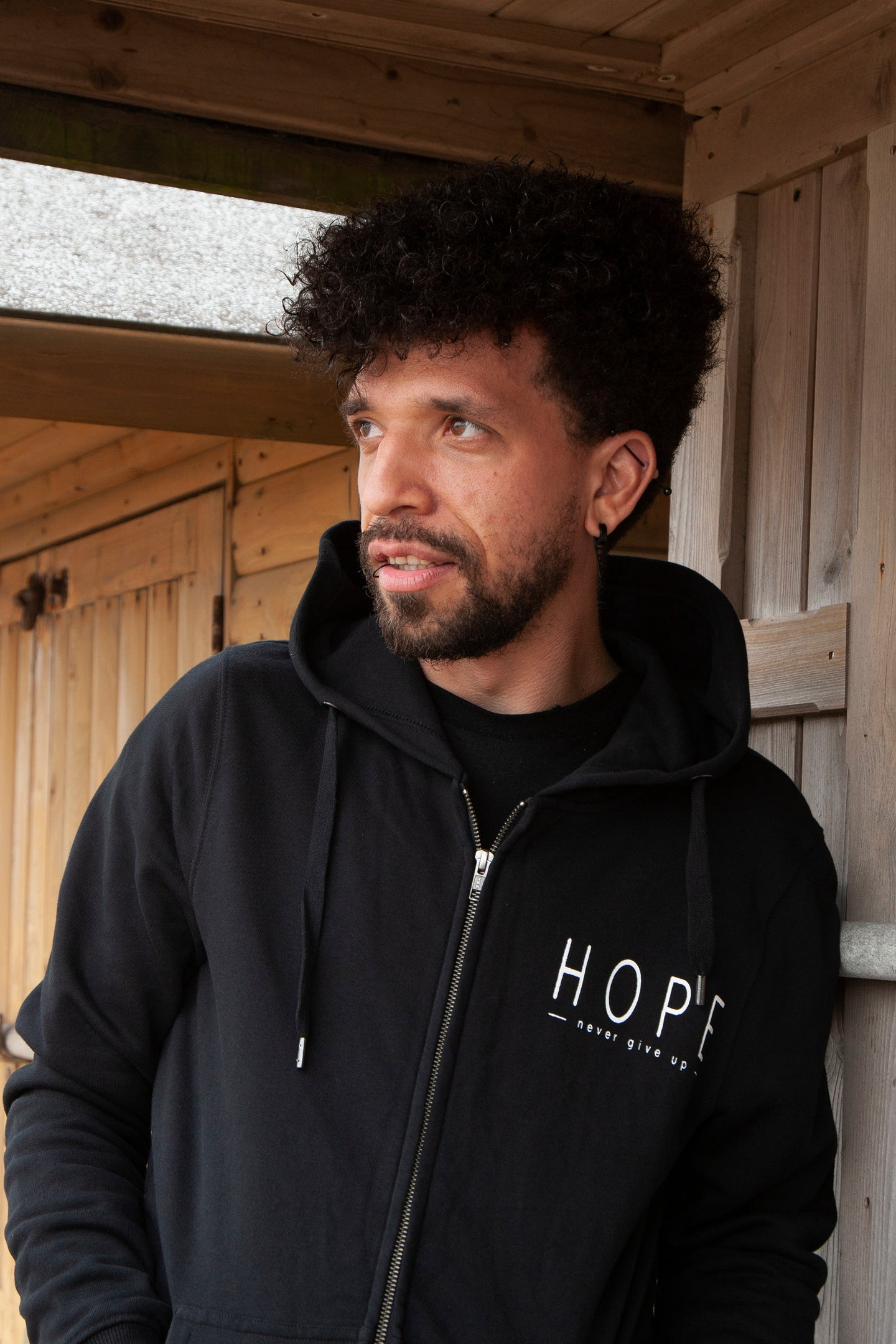 'Hope, never give up' Unisex Black Zip Hoodie