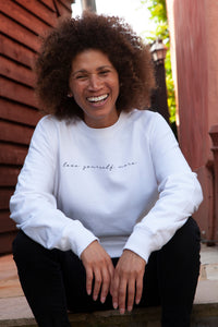 love yourself more self love organic cotton dove white sweater