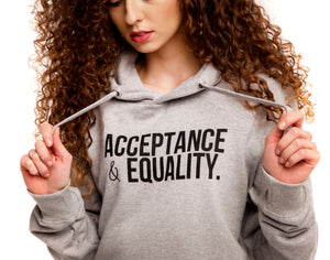 Grey Unisex Hoody, Acceptance & Equality
