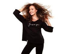 Load image into Gallery viewer, Black Women's Sweater , Just be you