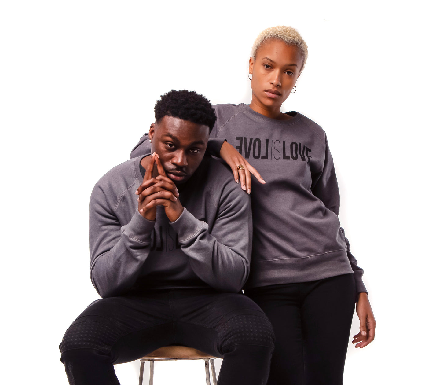 Dark Grey Unisex Sweater , Love is love
