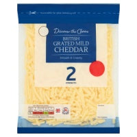 DISCOVER THE CHOICE GRATED MILD BRITISH CHEDDAR, 200g