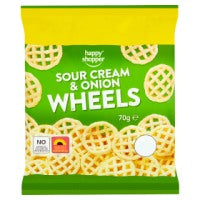 HAPPY SHOPPER SOUR CREAM & ONION WHEELS, 70g
